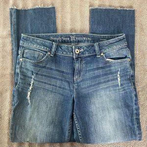 Simply Vera Vera Wang Distressed Straight Leg Denim Jeans, 8